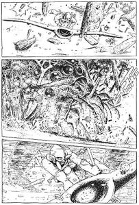 Leserens første møte med en ohmu. Legg merke til Nausicaä foran ohumen i bilde to.