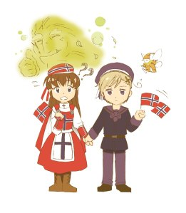 Mangafigurene Flute og Norway. Av: mangaka-chan.deviantart.com