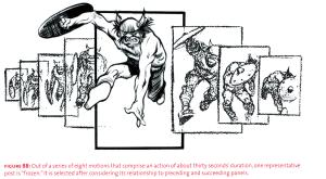 Eisner demonstrerer her hvordan én positur kan representere et lengre forløp.
